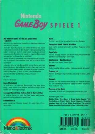 Gameboy Spiele Rückseite
