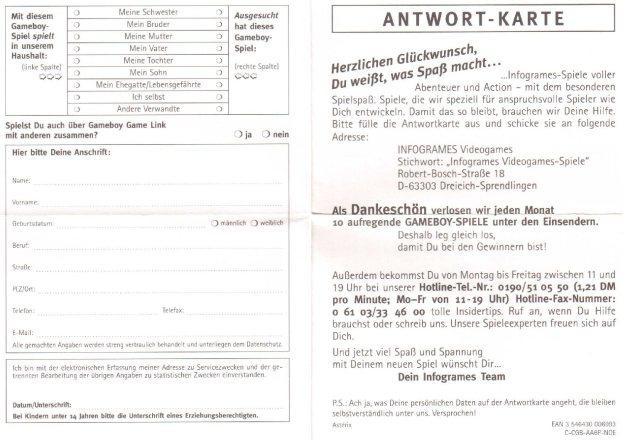 Asterix - Auf der Suche nach Idefix Antwortkarte