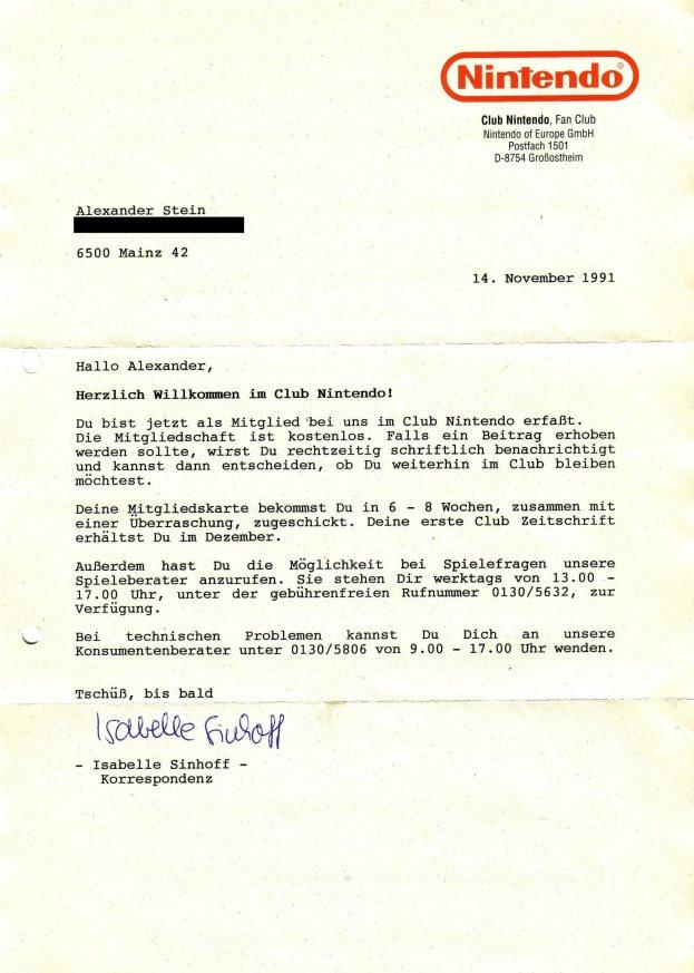 Club Nintendo Bestätigung 14.11.1991