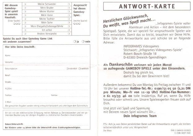 Antwortkarte C-CGB-ADXP-NOE Vorderseite